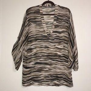 Chico's Silk Flowy 3/4 Sleeve Top Size 2 Medium